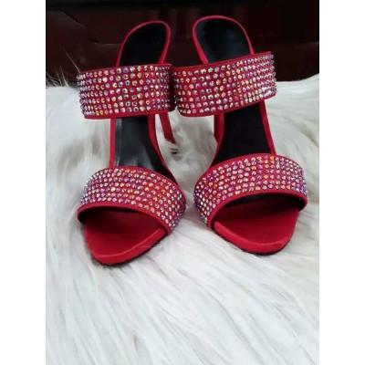 Women's Platform Suede Peep Toe Stiletto Heel With Rhinestone Sandals Shoes