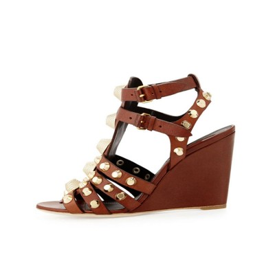 Women's Wedge Heel Peep Toe Sheepskin With Buckle Sandals Shoes