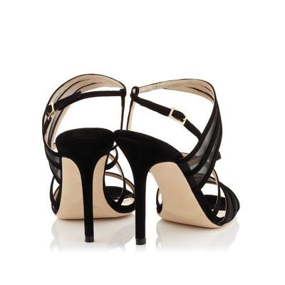 Women's Stiletto Heel Suede Peep Toe With Buckle Sandals Shoes