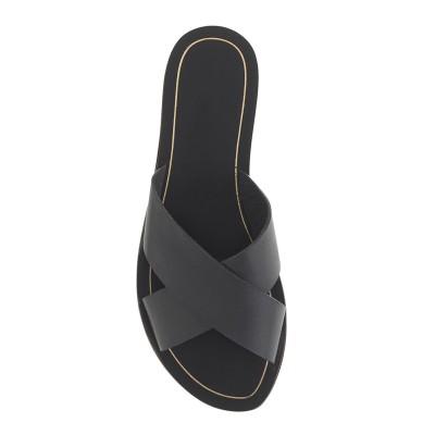 Women's Sheepskin Black Flat Heel Sandals Shoes