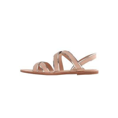 Women's Flat Heel Sheepskin Peep Toe Sandals Shoes