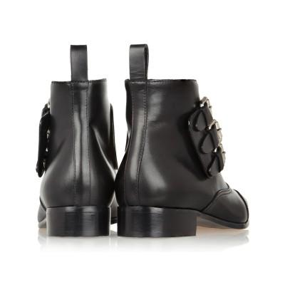 Women's Cattlehide Leather Kitten Heel Closed Toe With Zipper Buckle Black Booties