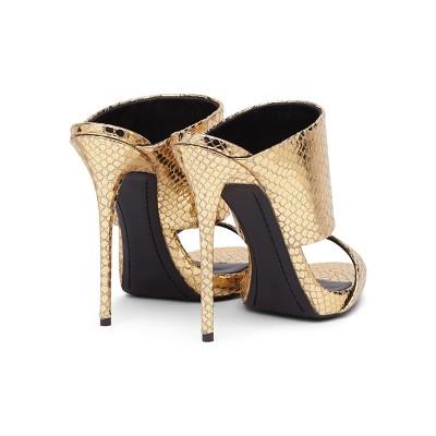 Women's Gold Sheepskin Peep Toe Stiletto Heel Sandals Shoes