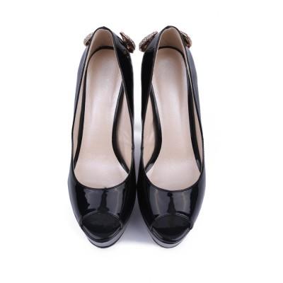 Women's Patent Leather Stiletto Heel Peep Toe Platform With Rhinestone Platforms Shoes