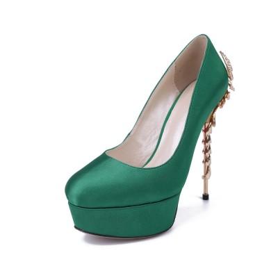 Women's Stiletto Heel Platform Satin Closed Toe With Rhinestone Platforms Shoes