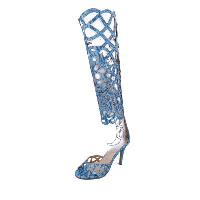 Women's Sheepskin Peep Toe Stiletto Heel With Zipper Knee High Blue Boots