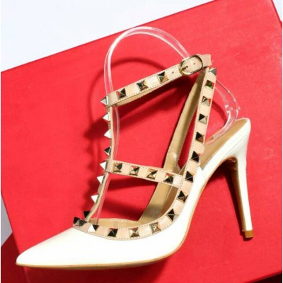 Women's Patent Leather Closed Toe Stiletto Heel With Rivet Sandals Shoes