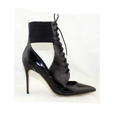 Women's Patent Leather Closed Toe Stiletto Heel With Lace Up Ankle Black Boots