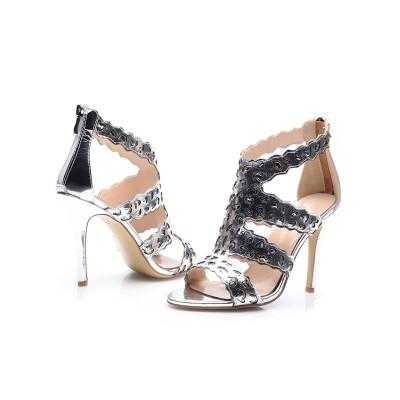 Women's Stiletto Heel Sheepskin Peep Toe With Zipper Sandals Shoes