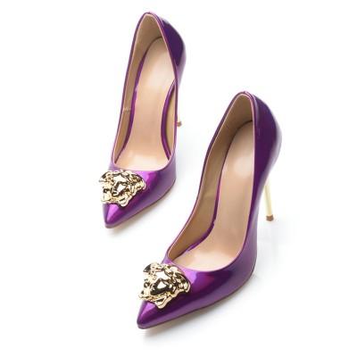 Women's Regency Patent Leather Closed Toe Stiletto Heel High Heels