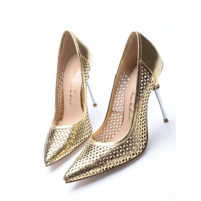 Women's Patent Leather Gold Closed Toe Stiletto Heel High Heels