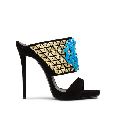 Women's Suede Peep Toe Stiletto Heel With Beading Party Sandals Shoes