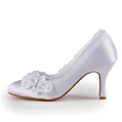 Women's Satin Stiletto Heel Closed Toe White Wedding Shoes With Rhinestone