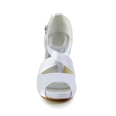 Women's Satin Stiletto Heel Peep Toe With Buckle White Wedding Shoes