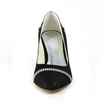 Women's Satin Wedge Heel Wedges Closed Toe Wedges Shoes With Rhinestone