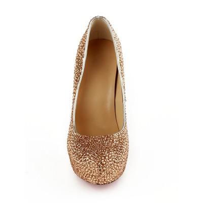 Women's Closed Toe Stiletto Heel Platform With Rhinestones Platform Platforms Shoes