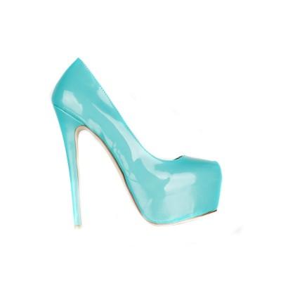 Women's Patent Leather Stiletto Heel Closed Toe Platform High Heels