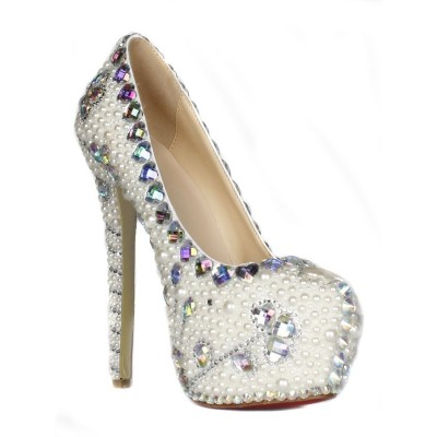Women's Patent Leather Stiletto Heel Closed Toe Platform With Pearl High Heels