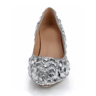 Women's Cone Heel Sheepskin Closed Toe Rhinestone Wedding Shoes
