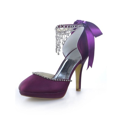 Women's Mary Jane Satin Platform Closed Toe Cone Heel With Rhinestone Platforms Shoes