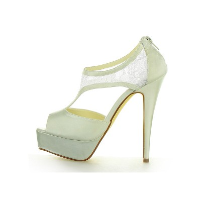 Women's Stiletto Heel Satin Platform Peep Toe With Zipper Ivory Wedding Shoes
