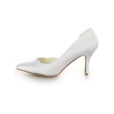 Women's Satin Closed Toe Stiletto Heel White Wedding Shoes